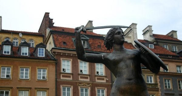 Statue at Stare Miasto in Warsaw, Poland