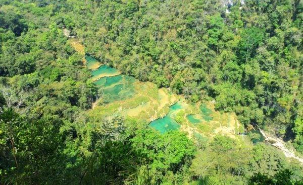 Aerial view of Semuc Champey, Guatemala