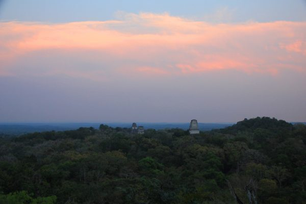 A view of Tikal sunset in Guatemala