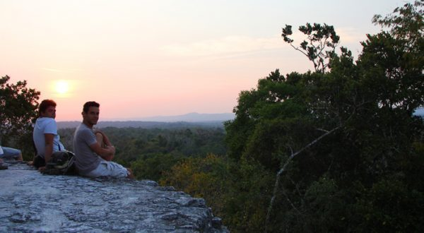 Sunset view from top of Temple IV in Tikal Guatemala