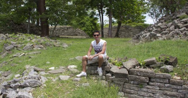 At the Maya Ruins of Lubaantun