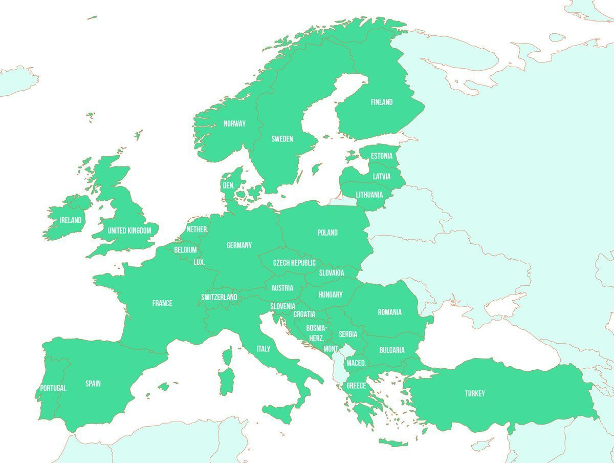 A Map of the Eurail network including all the countries covered in 2020.