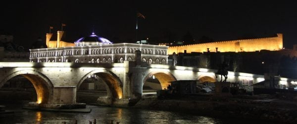 Skopje Stone Bridge at Night, Macedonia