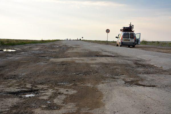 bad roads in Kazakhstan