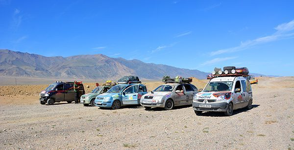 Mongol Rally Teams in Convoy