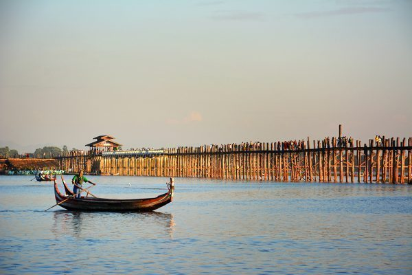 Boat by the U Bein Teak Bridge