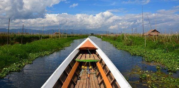 boating at the floating gardens in Inle Lake in Myanmar