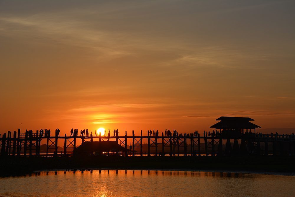 Silhouette of the U Bein Teak Bridge