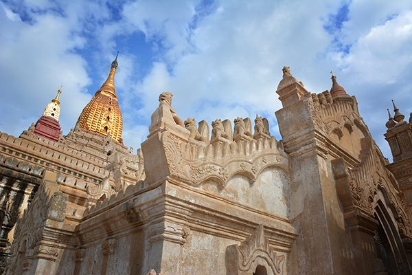 Architectural details of Ananda Temple in Bagan, Myanmar