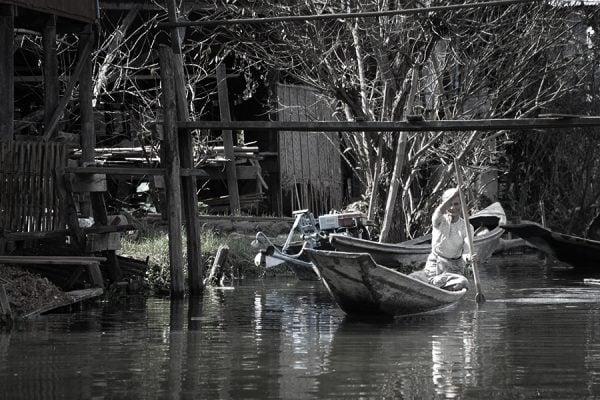 Old lady in Inle Lake in Myanmar