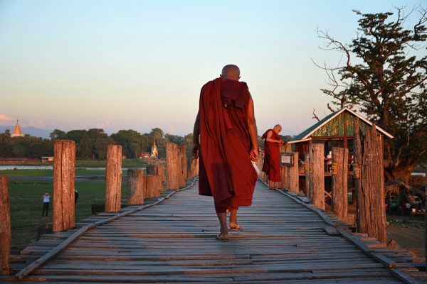 Monk at U Bein Teak Bridge