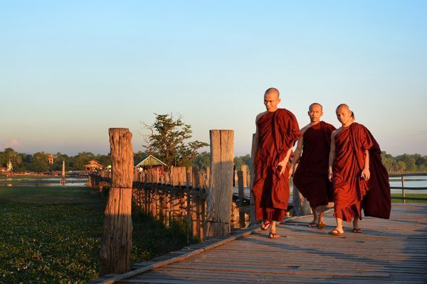 Monks at U Bein Teak Bridge