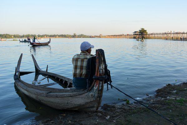 Sun boat by the U Bein Teak Bridge