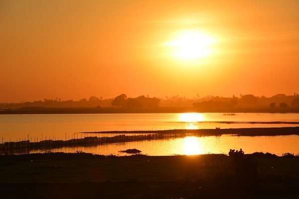 Sunset at U Bein Teak Bridge