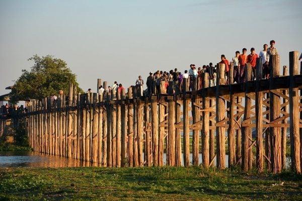 Tourists at U Bein Teak Bridge