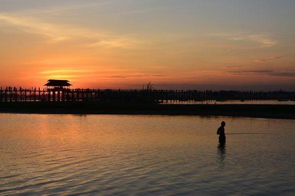 Fisherman by U Bein Teak Bridge