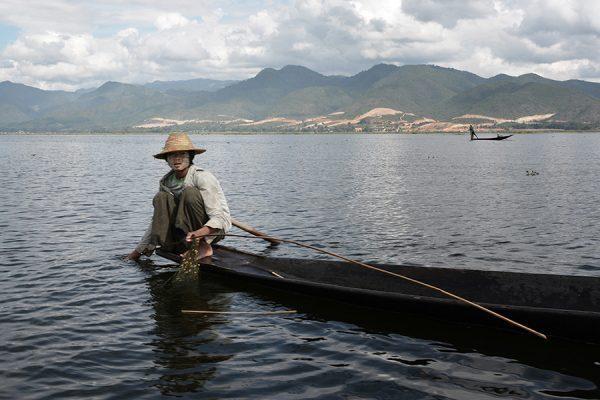 Young fisherman in Inle Lake in Myanmar