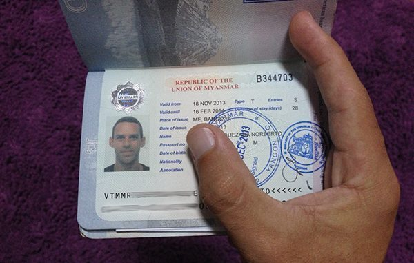 My visa to Myanmar