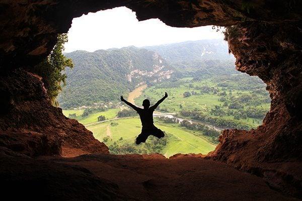 Jumping in Cueva Ventana
