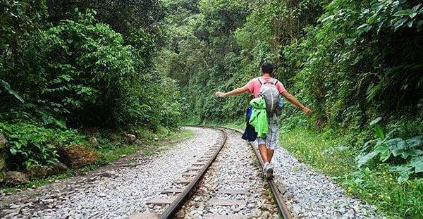 Walking on the rails to Machu Picchu