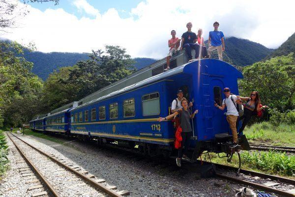 Riding the train to Machu Picchu