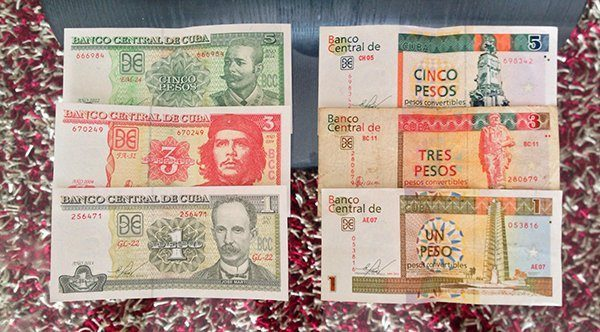 Both Cuban currencies. CUP on the left ($1 = 26 CUP) and the CUC on the right ($1 = 1 CUC).