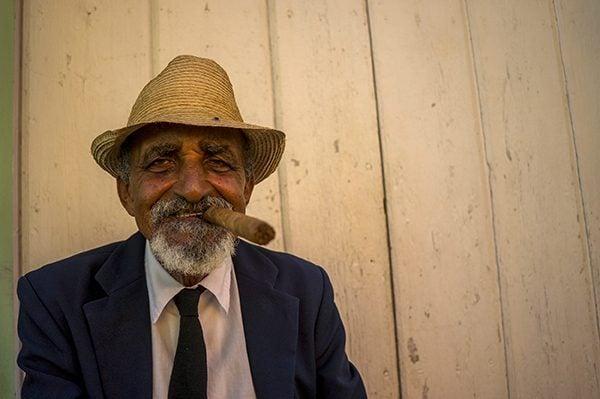Man smoking a cigar in Cuba