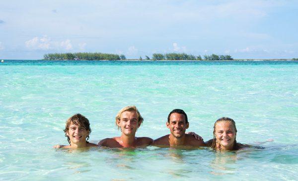 Enjoying the beach with friends in Playa Pilar in Cuba