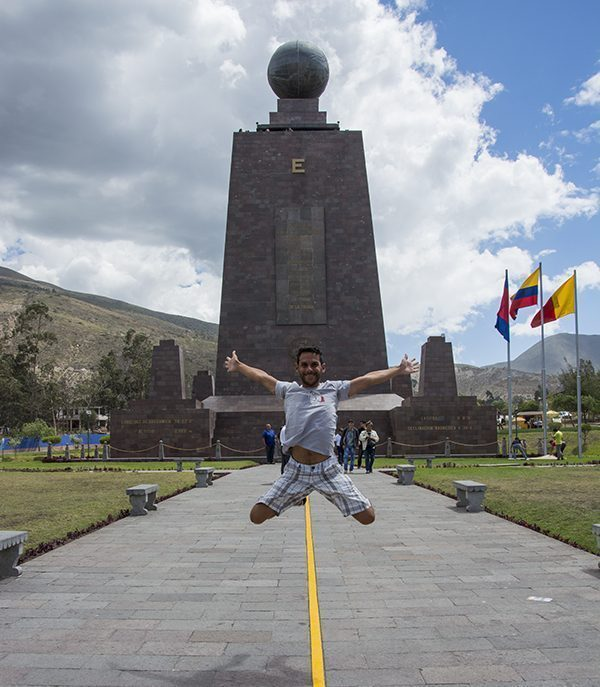 Jumping at the equator in Quito, Ecuador
