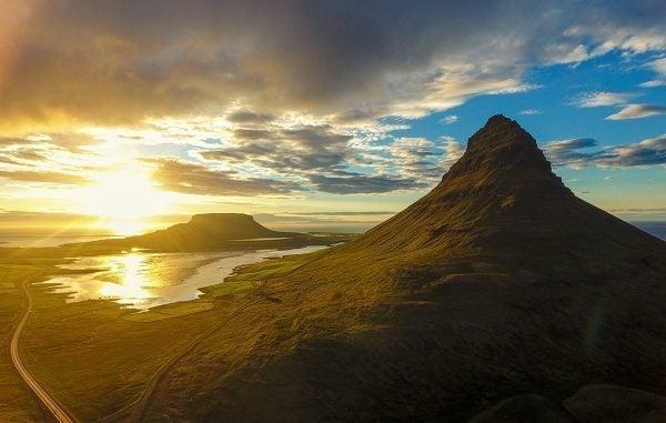 Sunset as seen from Kirkjufell in Iceland