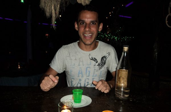 Drinking Viper Rum in Belize