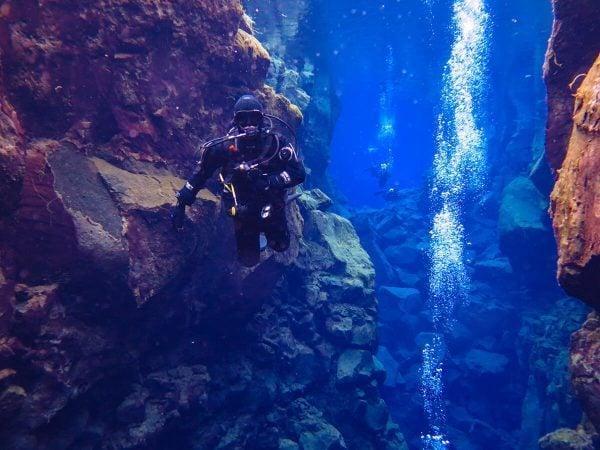 Diving in Silfra, Iceland