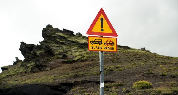 Iceland's F road sign