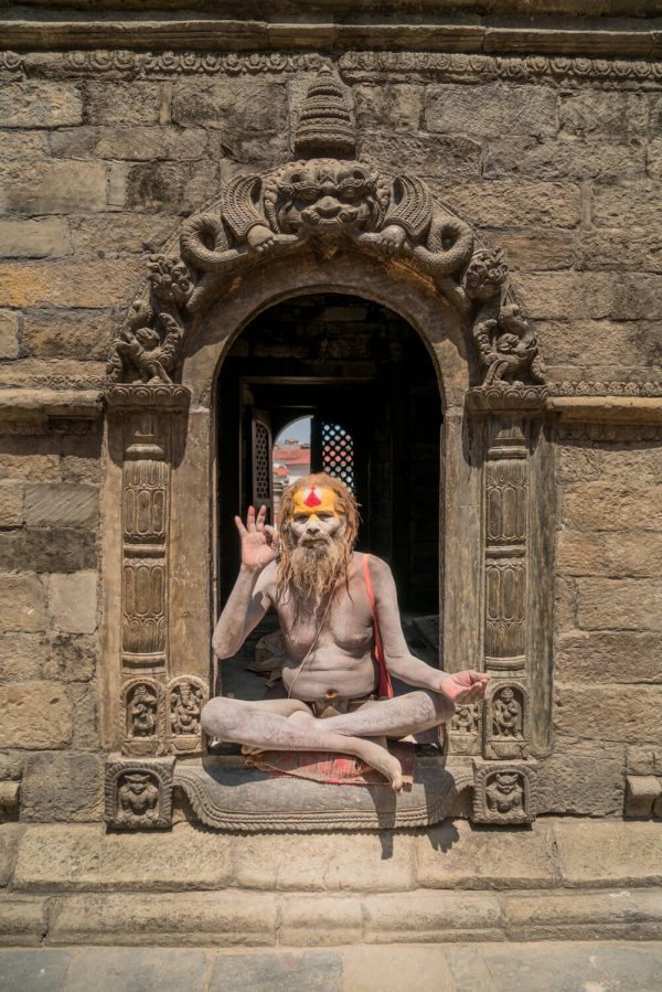 A sadhu with a chastity belt at Pashupatinath Temple