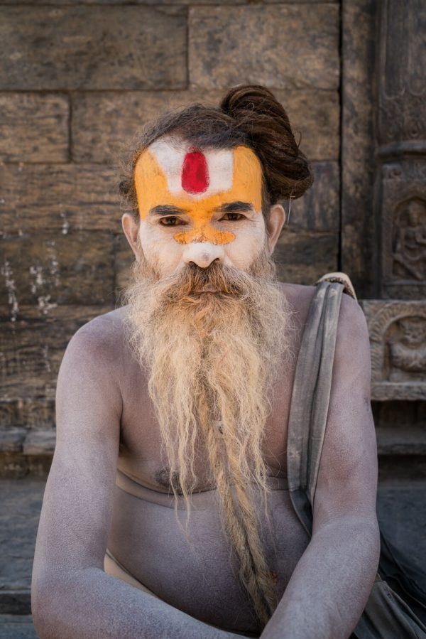 An ashed-up sadhu at Pashupatinath Temple
