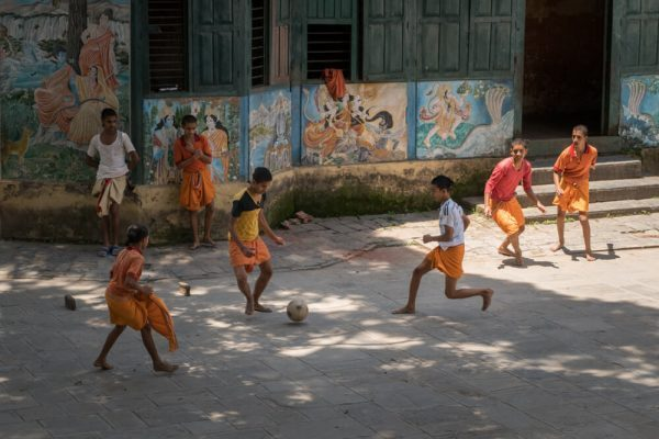 Playing football at Pashupatinath