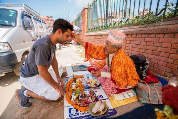 Getting a blessing at Pashupatinath Temple