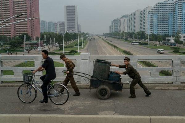 Military men in Pyongyang, North Korea