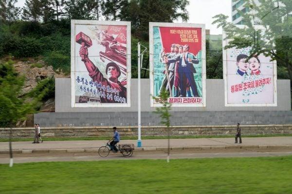 Propaganda posters in Pyongyang, North Korea