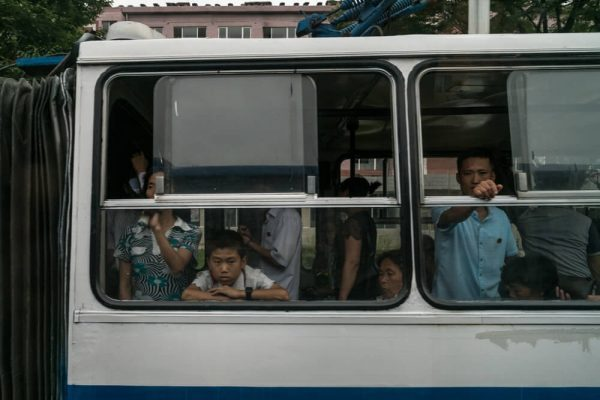 Riding the tram in Pyongyang, North Korea