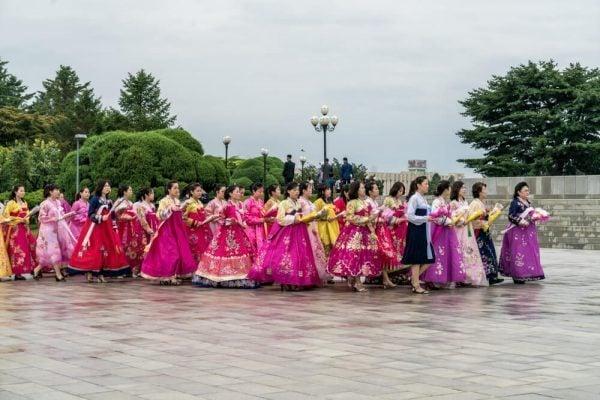 Ladies at Mansudae Grand Monument in North Korea