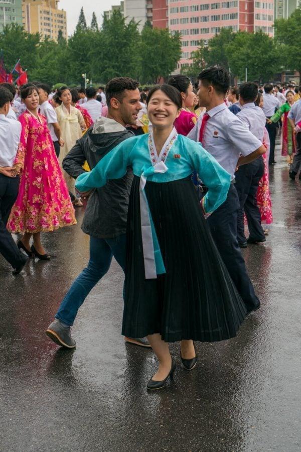 Dancing at the Mass Dance in Pyongyang, North Korea