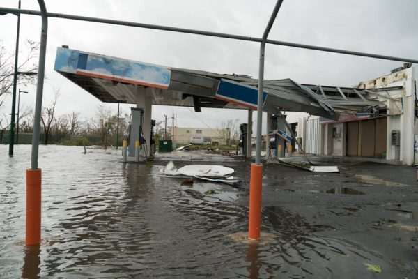 Damaged gas station in Carolina, Puerto Rico