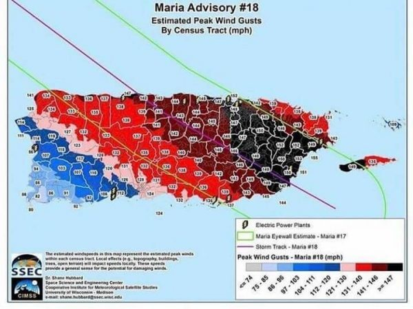 Hurricane Maria Trajectory over Puerto Rico