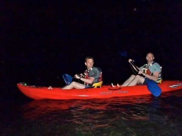 Kayakers at the bio bay