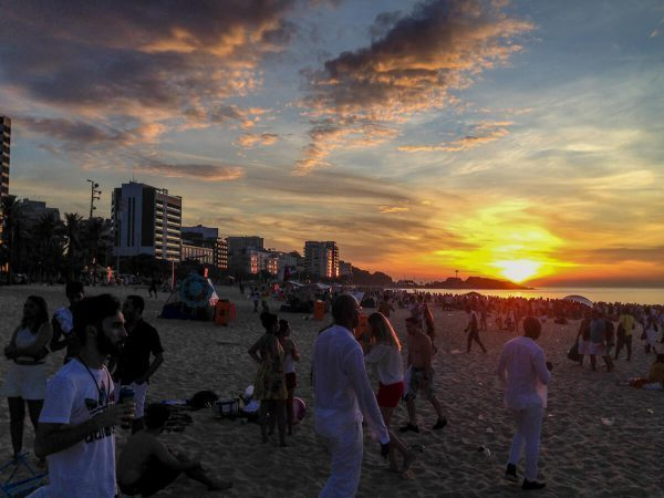 Sunrise at New Year's in Rio de Janeiro, Brazil