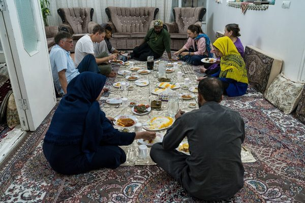 Eating with traditional family in Iran