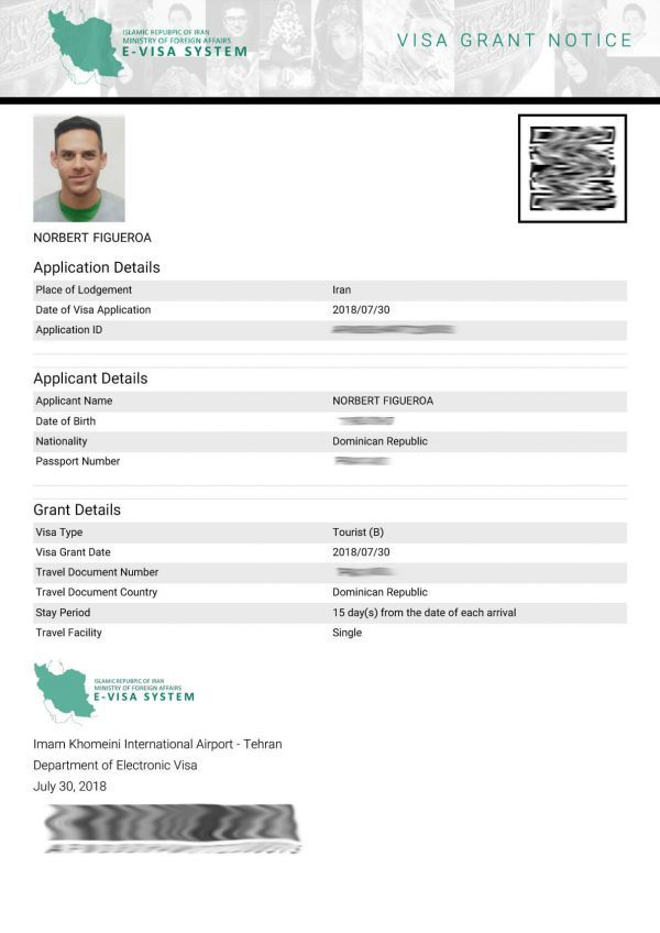 Iran e-visa sample
