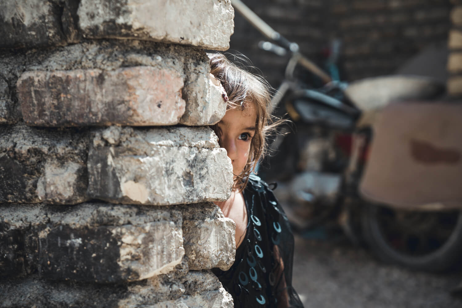 Shy girl at the Kahkaraan village in Iran