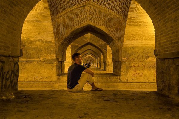 Under the bridge in Isfahan, Iran